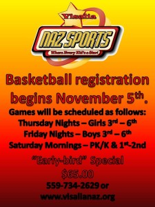 Naz Sports Basketball Registration @ Naz Sports | Visalia | California | United States
