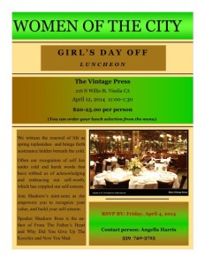 WOMEN OF THE CITY-Girls Day Off Luncheon @ The Vintage Press | Visalia | California | United States