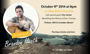 Mission at Kern County Fall Banquet with Brandon Heath @ Valley Bible Fellowship