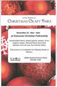 Koinonia Chirstmas Craft Fair @ Koinonia Christian Fellowship | Hanford | California | United States