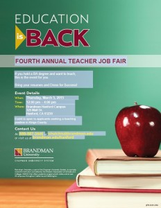 Brandman University 4th Annual Teacher Job Fair @ Hanford | California | United States