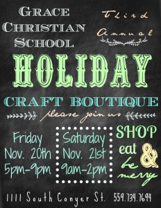3rd Annual Holiday Craft Boutique @ Grace Christian School | Visalia | California | United States