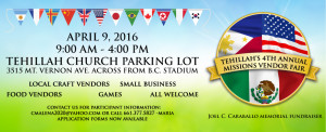 4th Annual Tehillah Misson Vendor Fair @ Tehillah Church Parking Lot | Bakersfield | California | United States