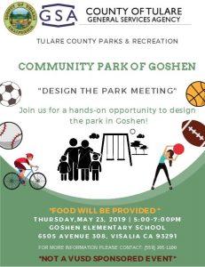 "Community Park of Goshen- ""Design the Park Meeting @ Goshen Elementary School"