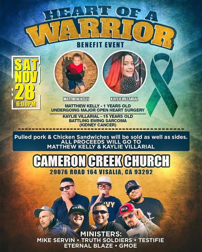 CHRISTIAN HIP HOP CONCERT: Heart of a Warrior Benefit Concert @ Cameron Creek Church | Visalia | California | United States